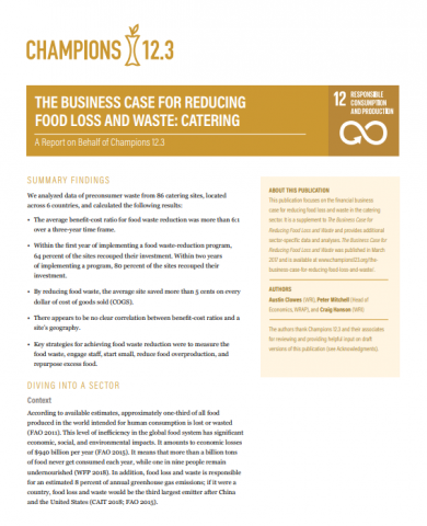The business case for reducing food loss and waste: catering.WRI