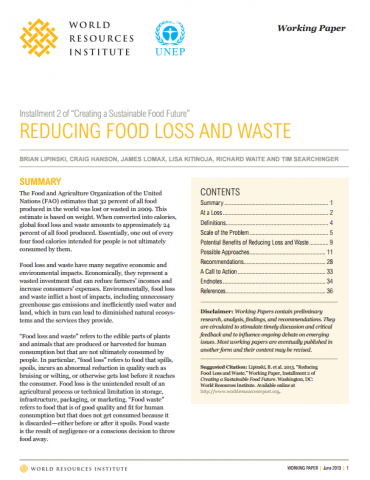 Creating a Sustainable Food Future. Reducing Food Loss and Waste. World Resources Institute (WRI)